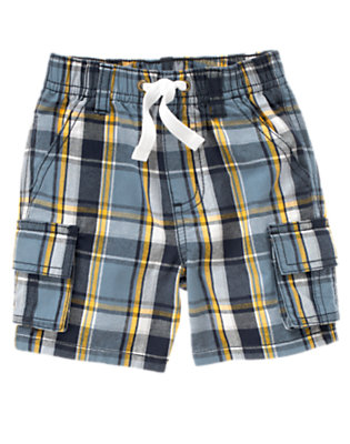 Robot Blue Plaid Pull-On Plaid Cargo Short by Gymboree