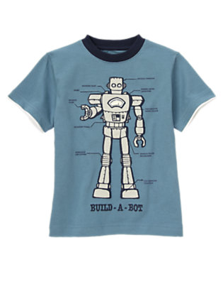 Boys Robot Blue Build-A-Bot Tee by Gymboree