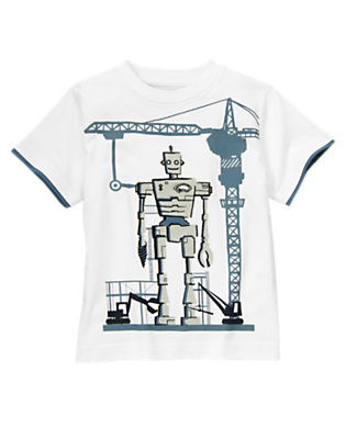 Boys White Robot Construction Tee by Gymboree
