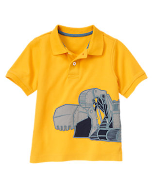 Construction Yellow Excavator Pique Polo Shirt by Gymboree