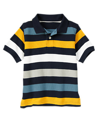 Boys Midnight Blue Stripe Stripe Pique Polo Shirt by Gymboree