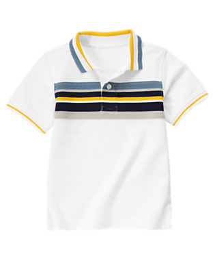White Chest Stripe Polo Shirt by Gymboree