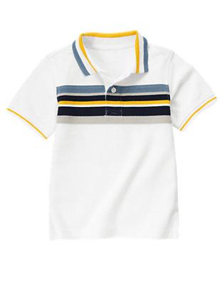 Boys White Chest Stripe Polo Shirt by Gymboree