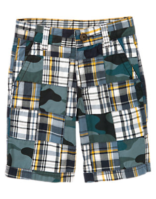 Midnight Blue Patchwork Plaid Camo Patchwork Short by Gymboree
