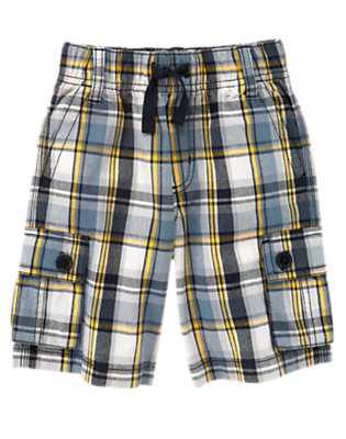 Misty Grey Plaid Drawstring Plaid Cargo Short by Gymboree