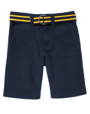 Midnight Blue Belted Corduroy Short by Gymboree