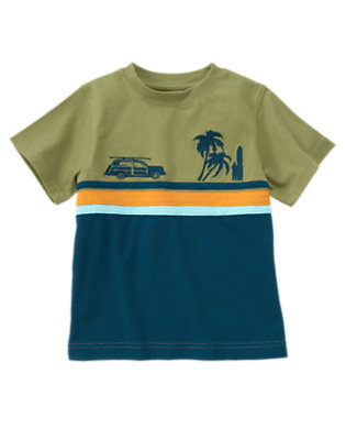 Surf Blue Beach Scene Stripe Tee by Gymboree