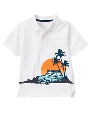 White Surf Station Wagon Polo Shirt by Gymboree