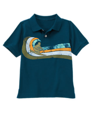 Surf Blue Wave Stripe Surfer Polo Shirt by Gymboree