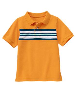 Papaya Orange Chest Stripe Pique Polo Shirt by Gymboree