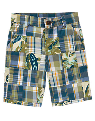 Dusty Olive Green Leaf Patchwork Leaf Plaid Patchwork Short by Gymboree
