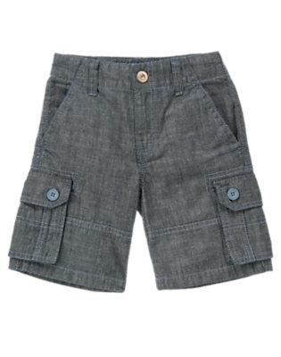 Boys Chambray Blue Chambray Cargo Short by Gymboree