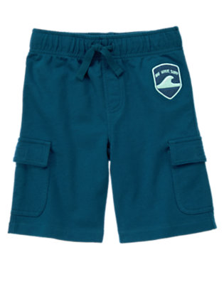 Boys Surf Blue Big Wave Surf Terry Cargo Short by Gymboree