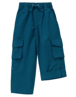 Surf Blue Roll Cuff Ripstop Cargo Pant by Gymboree