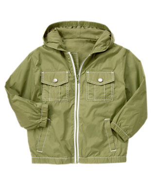 Dusty Olive Green Hooded Windbreaker Jacket by Gymboree