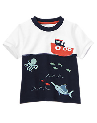 Toddler Boys Midnight Blue Sea Creatures Tugboat Tee by Gymboree