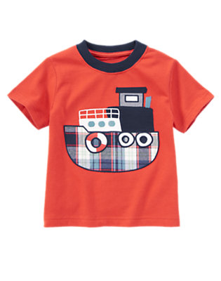 Submarine Orange Plaid Tugboat Tee by Gymboree