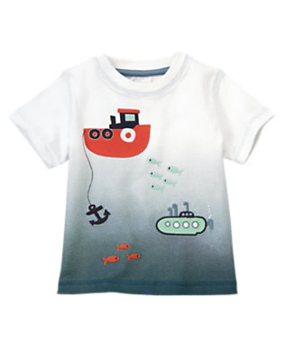 Toddler Boys White Tugboat Submarine Tee by Gymboree