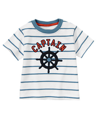 White Stripe Captain Tee by Gymboree