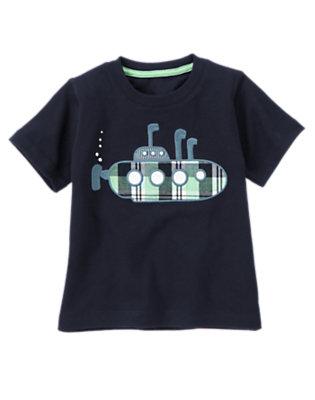 Toddler Boys Midnight Blue Plaid Submarine Tee by Gymboree