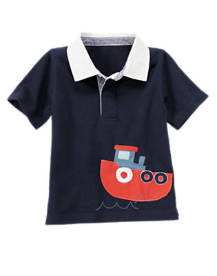 Midnight Blue Tugboat Polo Shirt by Gymboree
