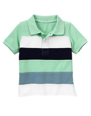 Scuba Green Pieced Stripe Pique Polo Shirt by Gymboree
