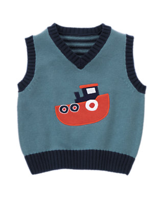 Anchor Blue Tugboat Sweater Vest by Gymboree