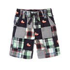 Tugboat Embroidered Plaid Patchwork Short
