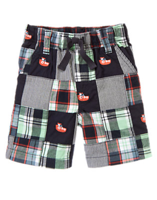 Midnight Blue Patchwork Tugboat Embroidered Plaid Patchwork Short by Gymboree
