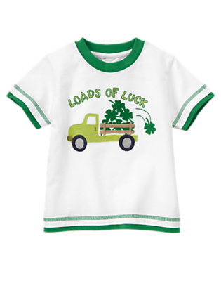 Toddler Boys White Loads Of Luck Clover Tee by Gymboree