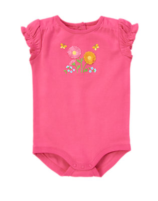 Flower Pink Daisy Embroidered Bodysuit by Gymboree