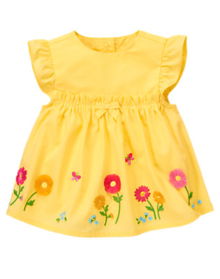 Baby Sunny Yellow Daisy Embroidered Top by Gymboree