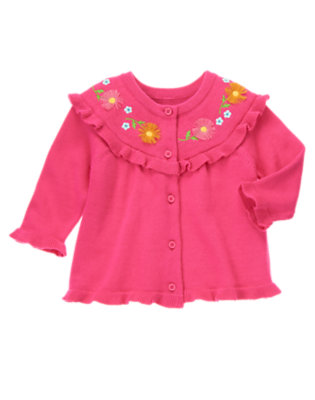 Baby Flower Pink Daisy Embroidered Cardigan by Gymboree