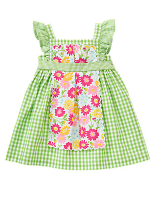 Fresh Green Gingham Gingham Apron Dress by Gymboree