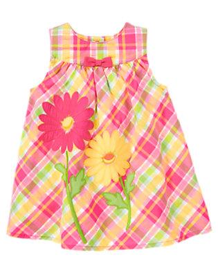 Baby Flower Pink Plaid Daisy Plaid Seersucker Dress by Gymboree