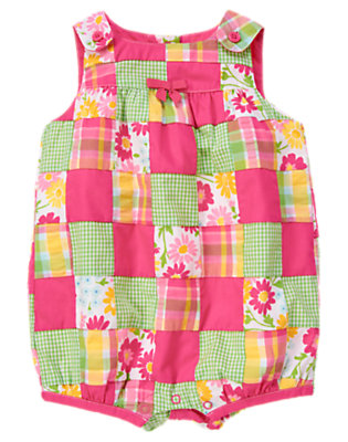 Baby Flower Pink Patchwork Flower Patchwork Bubble by Gymboree