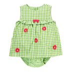 Daisy Embroidered Gingham Bubble
