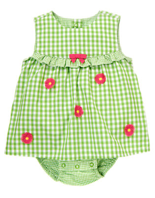 Fresh Green Gingham Daisy Embroidered Gingham Bubble by Gymboree