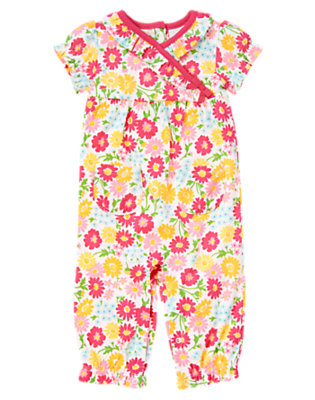 Flower Pink Floral Flower Print One-Piece by Gymboree