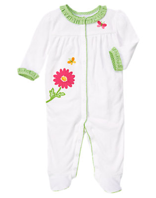 Baby White Flower Pointelle Footed One-Piece by Gymboree