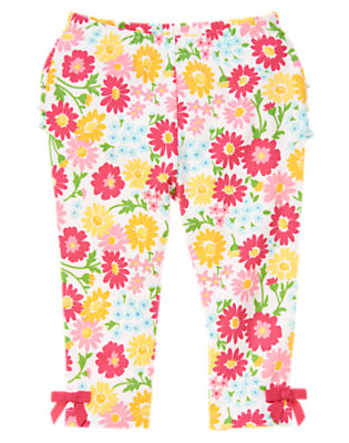 Flower Pink Floral Flower Print Ruffle Legging by Gymboree