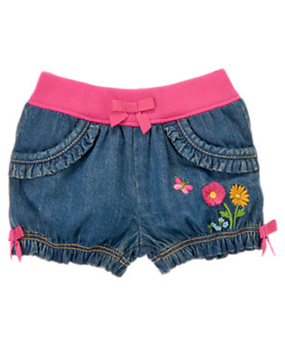 Baby Denim Flower Denim Short by Gymboree