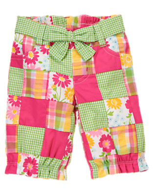 Flower Pink Patchwork Flower Patchwork Crop Pant by Gymboree