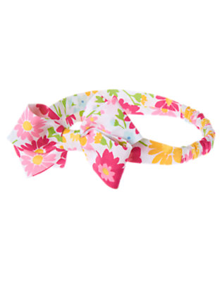 Baby Flower Pink Floral Flower Print Bow Fruffle by Gymboree