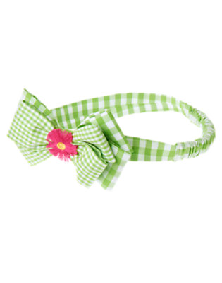 Fresh Green Gingham Daisy Bow Gingham Fruffle by Gymboree