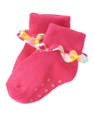Baby Flower Pink Flower Ruffle Sock by Gymboree
