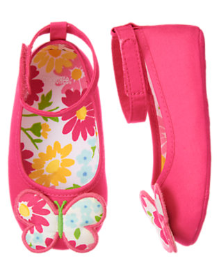 Flower Pink Butterfly Crib Shoe by Gymboree