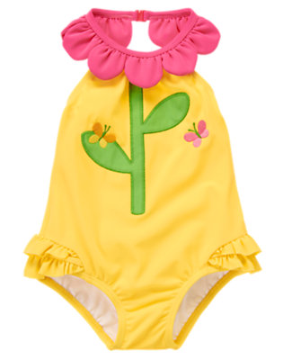 Baby Sunny Yellow Flower Neck Ruffle One-Piece Swimsuit by Gymboree