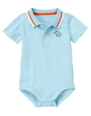 Baby Elephant Blue Polo Bodysuit by Gymboree