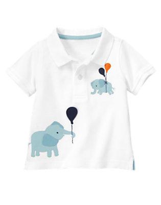 Baby White Elephant Polo Shirt by Gymboree